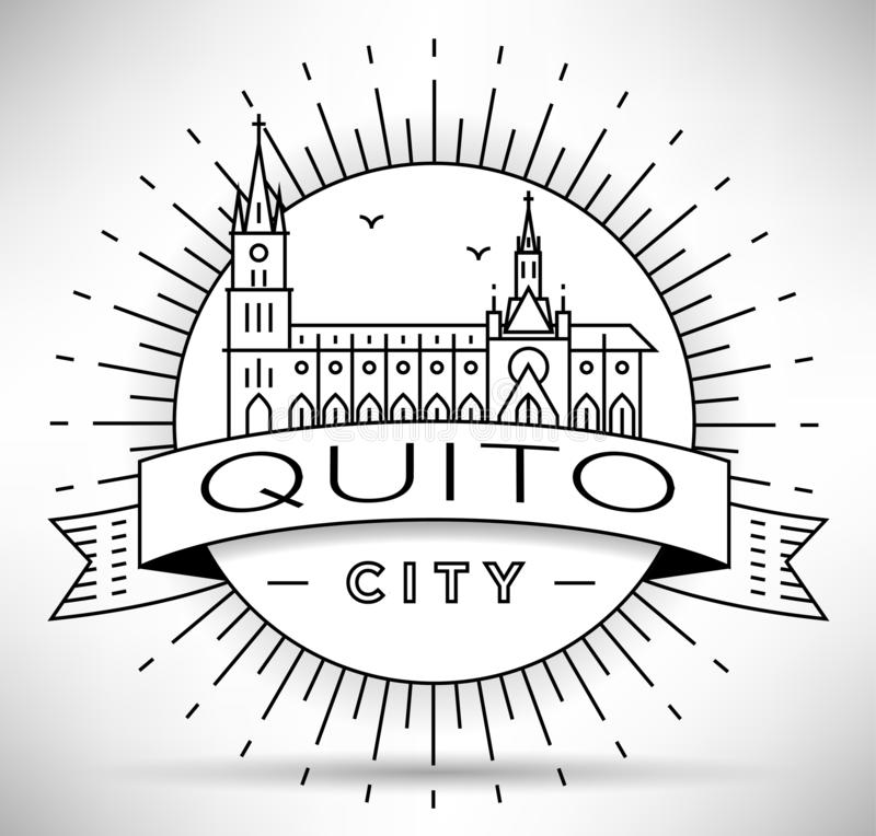 Minimaler Quito City Linear Skyline mit typografischem Design vektor abbildung
