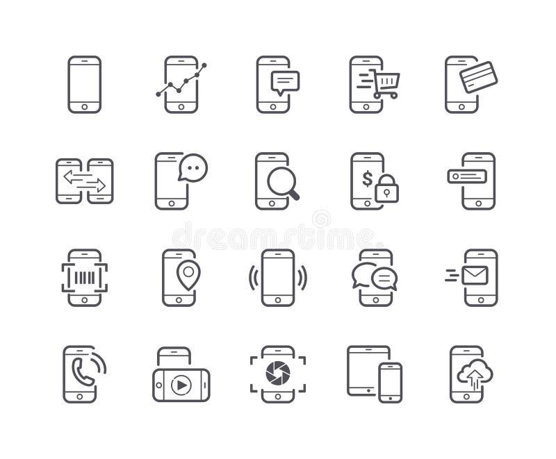 Minimaler Satz der Handy-Linie Ikonen lizenzfreie abbildung