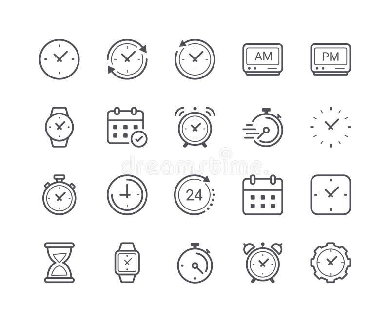 Minimaler Satz der Zeit und der Uhr-Linie Ikonen stock abbildung