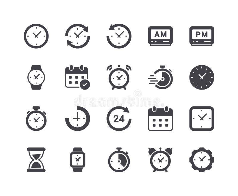 Minimaler Satz Zeit und Uhr Glyph-Ikonen vektor abbildung