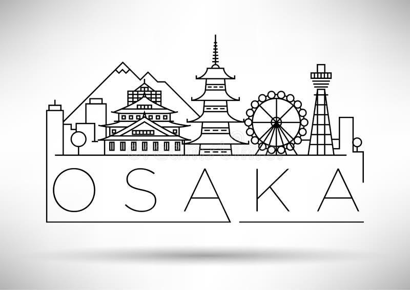 Minimaler Vector Osaka City Linear Skyline mit Typografischem Design lizenzfreie abbildung