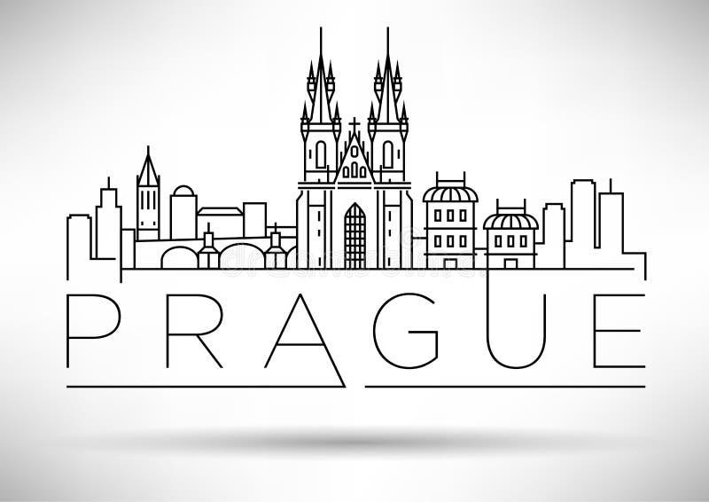 Minimaler Vector Prag City Linear Skyline mit typografischem Design stock abbildung