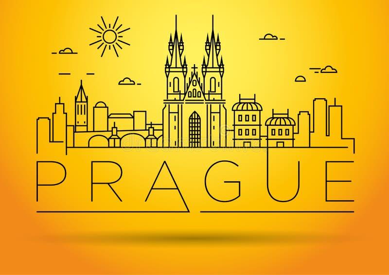 Minimaler Vector Prag City Linear Skyline mit typografischem Design vektor abbildung