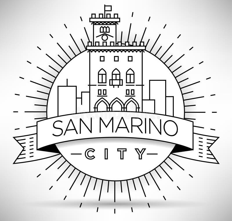 Minimaler Vector San Marino City Linear Skyline mit Typografischem Design vektor abbildung