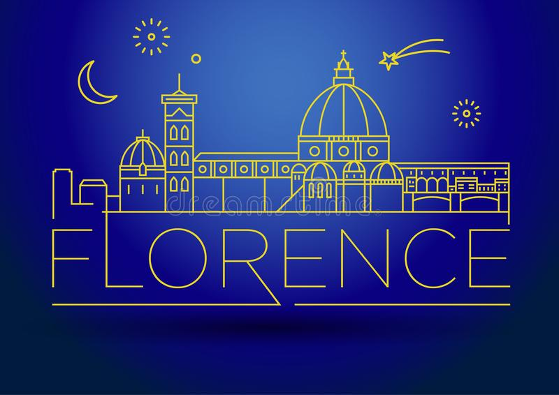 Minimaler Vektor Florence City Linear Skyline mit typografischem Entwurf vektor abbildung