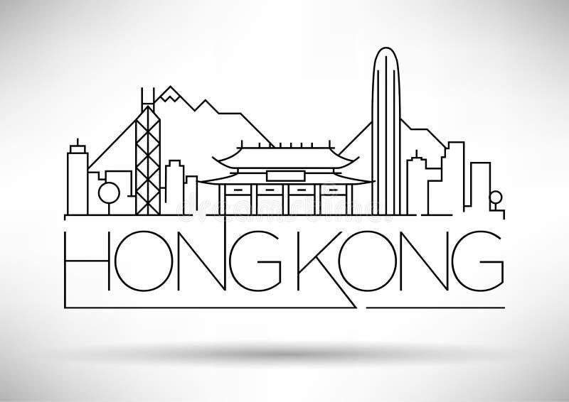 Minimaler Vektor Hong Kong City Linear Skyline mit typografischem Entwurf vektor abbildung