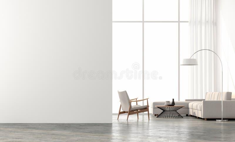 Minimales Artwohnzimmer 3d übertragen Der Raum hat große Fenster Heraus schauen, zum der Landschaft draußen zu sehen lizenzfreie abbildung