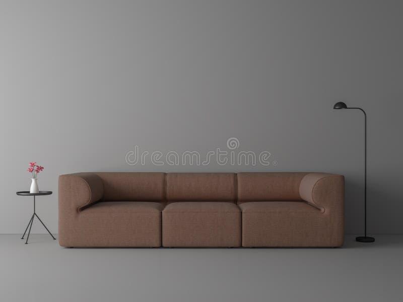 Minimales Artwohnzimmer mit rotbraunem Gewebesofa 3d übertragen lizenzfreie abbildung