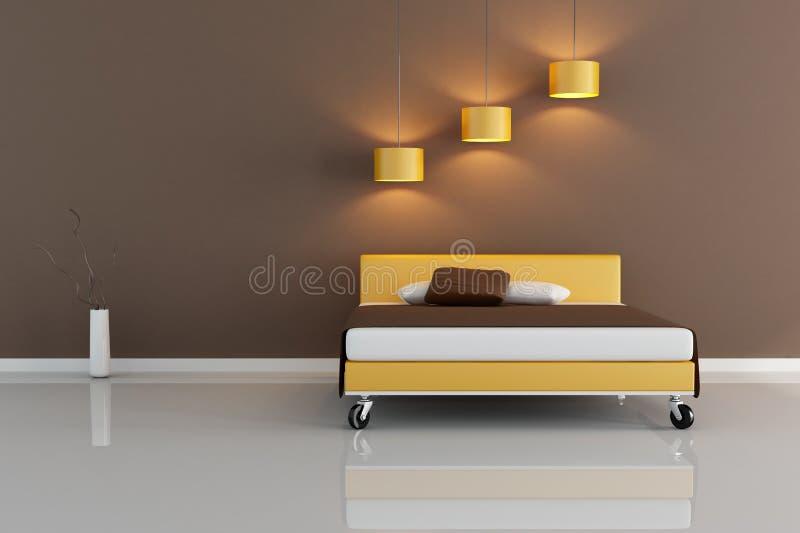 Minimales Braunes Schlafzimmer Stock Abbildung - Illustration von ...