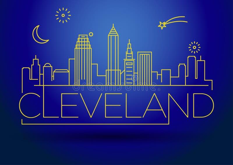 Minimales Cleveland Linear City Skyline mit typografischem Entwurf lizenzfreie abbildung