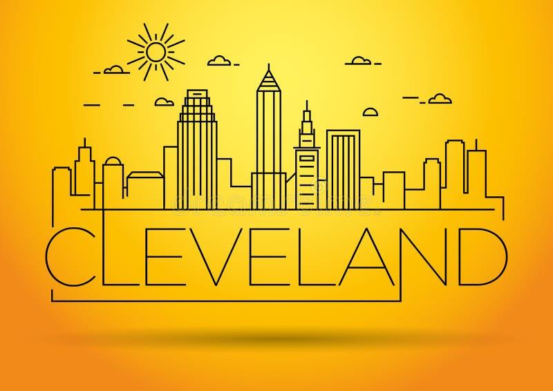 Minimales Cleveland Linear City Skyline mit typografischem Entwurf vektor abbildung