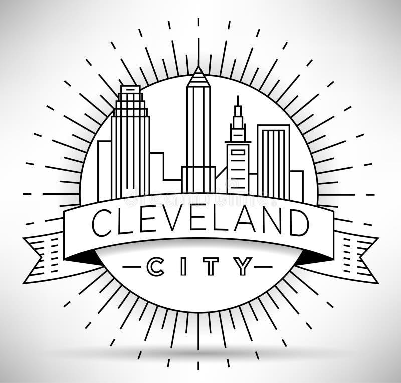 Minimales Cleveland Linear City Skyline mit typografischem Entwurf stock abbildung