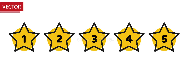 Minimales Entwurfsschwarzes der Sternbewertung und gelb Fünf-Sterneratenikone Feedback-Konzept Bewertungssystem Positiver Bericht lizenzfreie abbildung