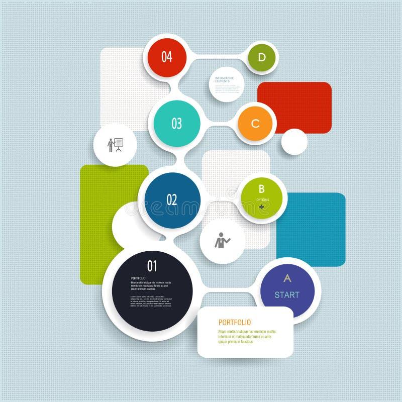 Minimales Infographics-Elementdesign Abstrakte Kreise und infographic Schablone der Quadrate mit Platz für Ihren Inhalt lizenzfreie abbildung
