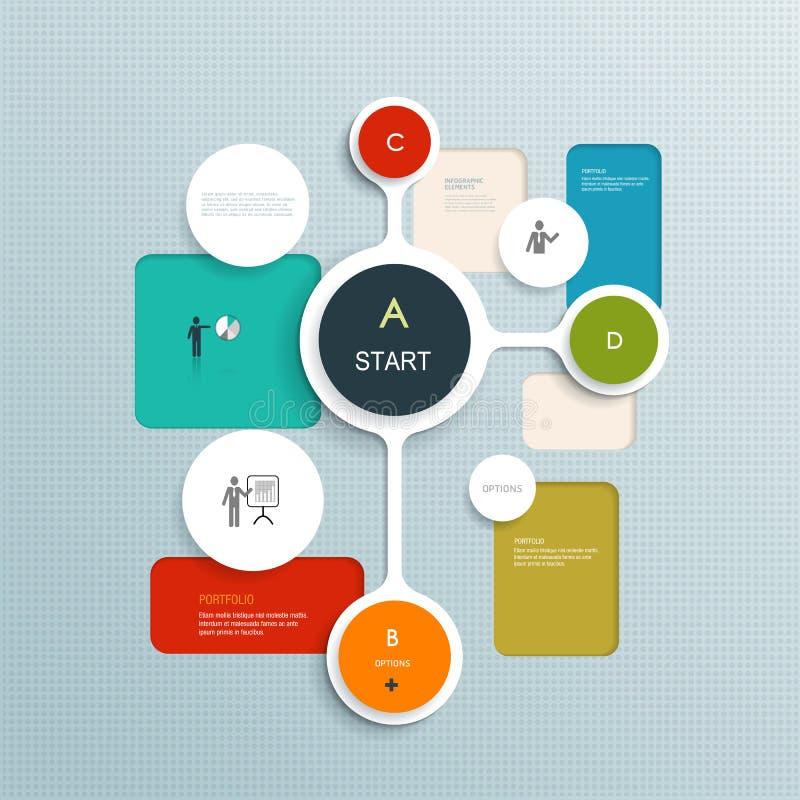 Minimales Infographics-Elementdesign Abstrakte Kreise und infographic Schablone der Quadrate mit Platz für Ihren Inhalt vektor abbildung