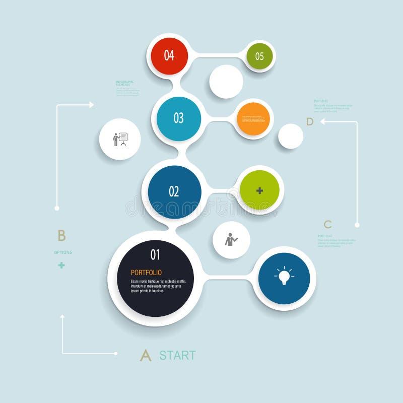 Minimales Infographics-Elementdesign Abstrakte Kreise und Quadrate infographic stock abbildung