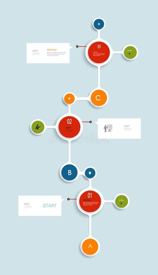 Minimales Infographics-Zeitachsedesign kann für nummerierte Fahnen verwendet werden Arbeitsflussplan-, -diagramm-, -graphik- oder vektor abbildung