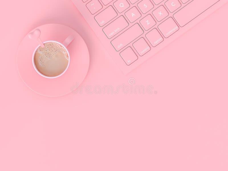Minimales Konzept Kaffeemilch in der rosa Schale stock abbildung