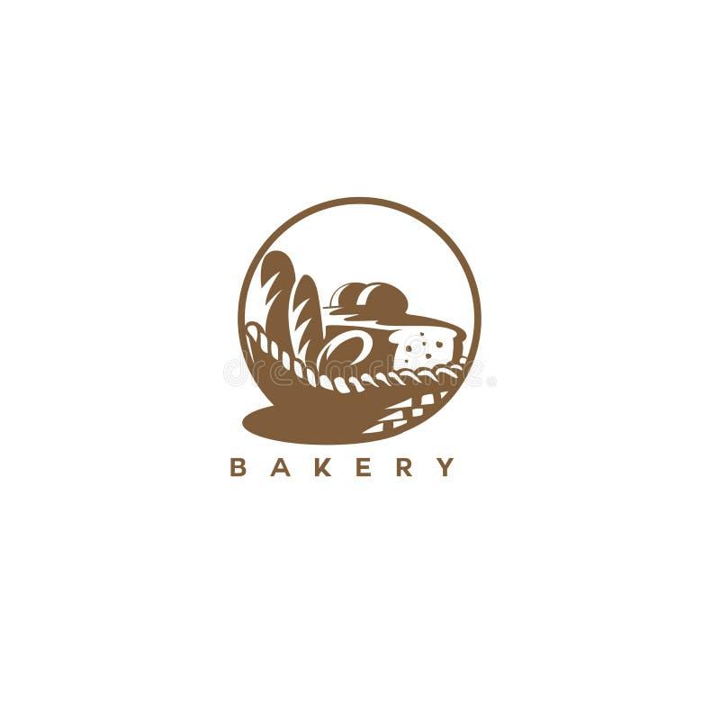 Minimales Logo der braunen Bäckereikorb-Vektorillustration vektor abbildung
