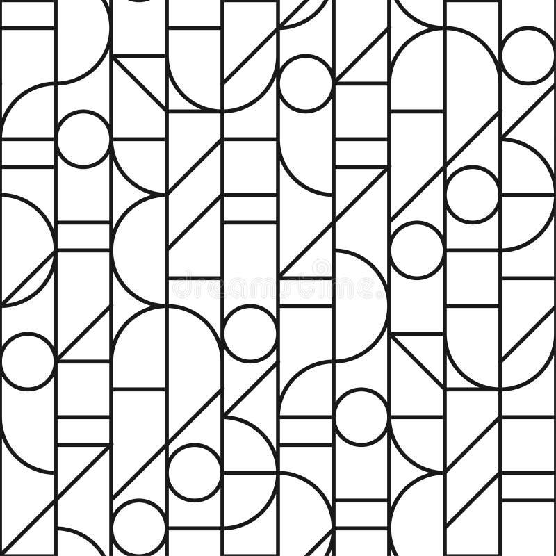 Minimales nahtloses Muster mit bw geometrisch stock abbildung