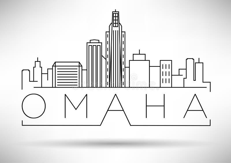 Minimales Omaha Linear City Skyline mit typografischem Entwurf vektor abbildung