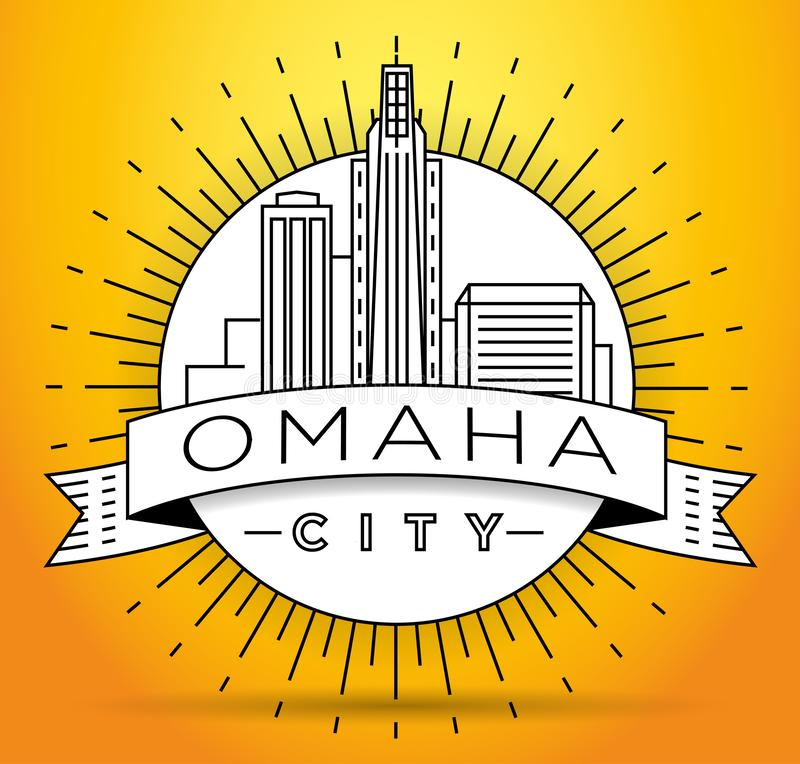Minimales Omaha Linear City Skyline mit typografischem Entwurf stock abbildung