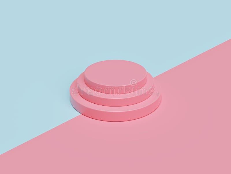 Minimales rundes Podium in den Pastellfarben Szene mit geometrischen Formen Wiedergabe 3d vektor abbildung