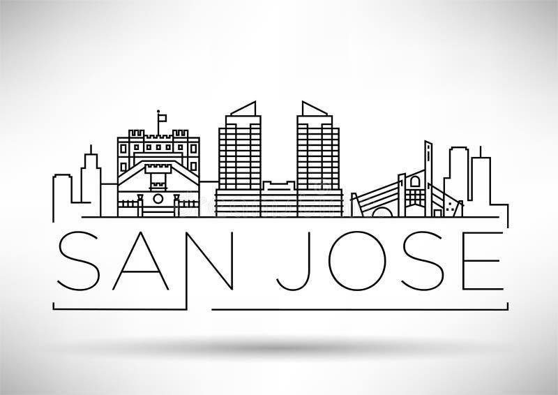 Minimales San Jose City Linear Skyline mit typografischem Entwurf vektor abbildung