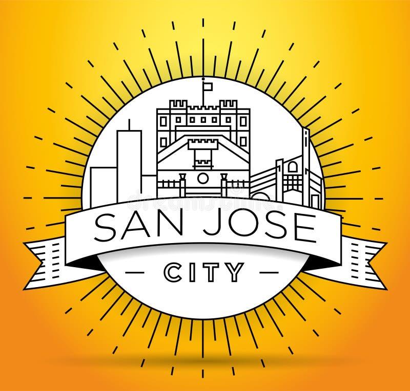 Minimales San Jose City Linear Skyline mit typografischem Entwurf stock abbildung