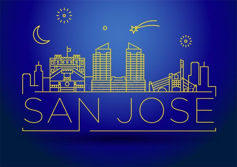 Minimales San Jose City Linear Skyline mit typografischem Entwurf lizenzfreie abbildung