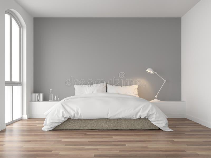 Schlafzimmer Mit Grauer Wand Stock Abbildung - Illustration ...