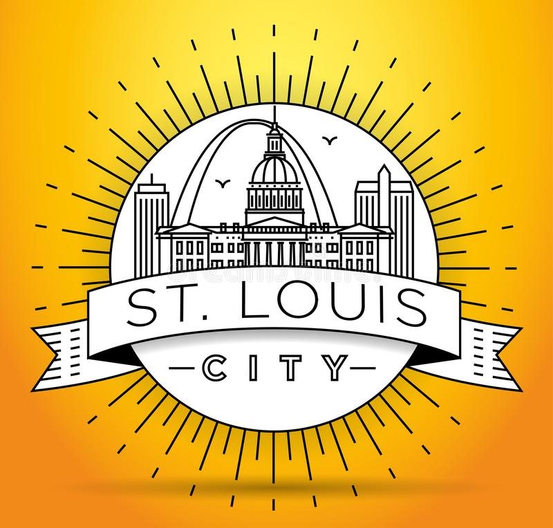 Minimales St. Louis City Linear Skyline mit typografischem Entwurf lizenzfreie abbildung