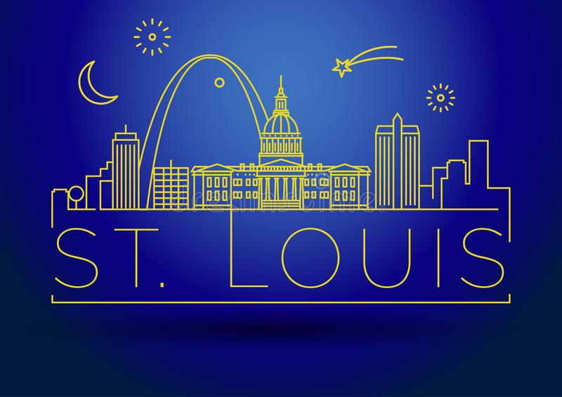 Minimales St. Louis City Linear Skyline mit typografischem Entwurf vektor abbildung