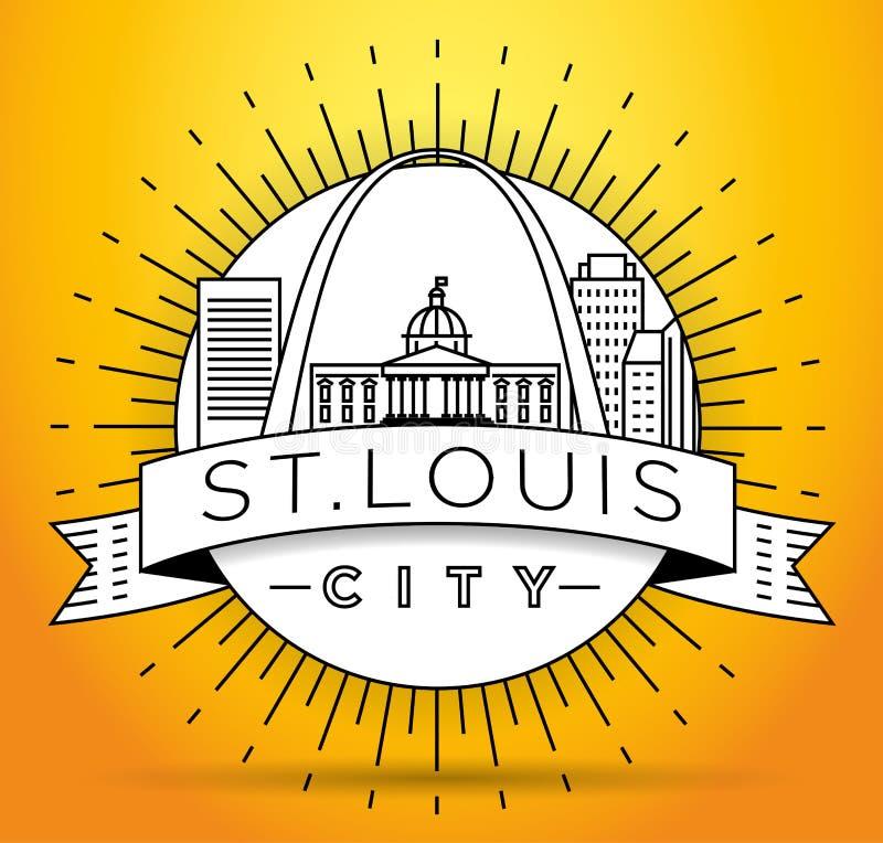 Minimales St. Louis Linear City Skyline mit typografischem Entwurf vektor abbildung