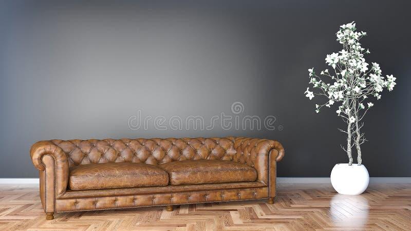 Minimales Wohnzimmer mit braunem ledernem Sofa und schwarzer Illustration der Wand 3D vektor abbildung