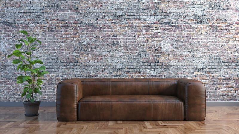 Minimales Wohnzimmer mit einem ledernen Sofa und eine alte Backsteinmauer und eine Illustration der Anlagen 3D lizenzfreie abbildung