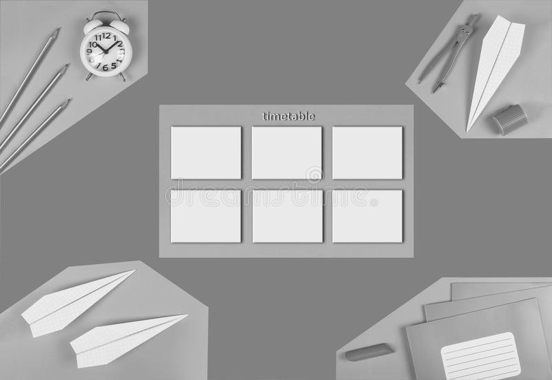 MINIMALISM.black and white.mock school timetable. time management concept. designer`s preparation. calendar. top view. flat lay, royalty free illustration