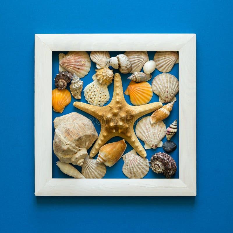 minimalism Capolavoro nel telaio di legno Coperture del mare Vista superiore Disposizione piana Concetto di protezione di Sun fotografie stock libere da diritti