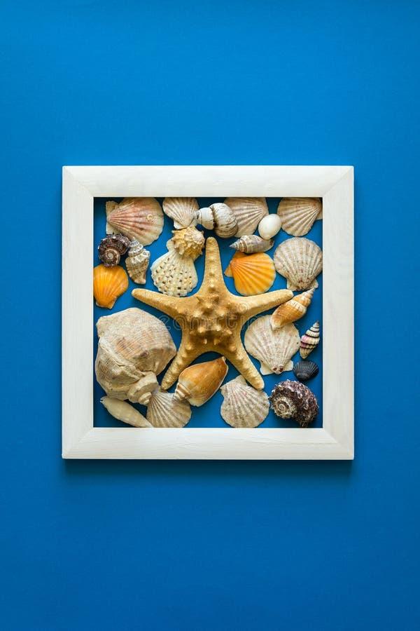 minimalism Capolavoro nel telaio di legno Coperture del mare Vista superiore Disposizione piana Concetto di protezione di Sun fotografia stock libera da diritti