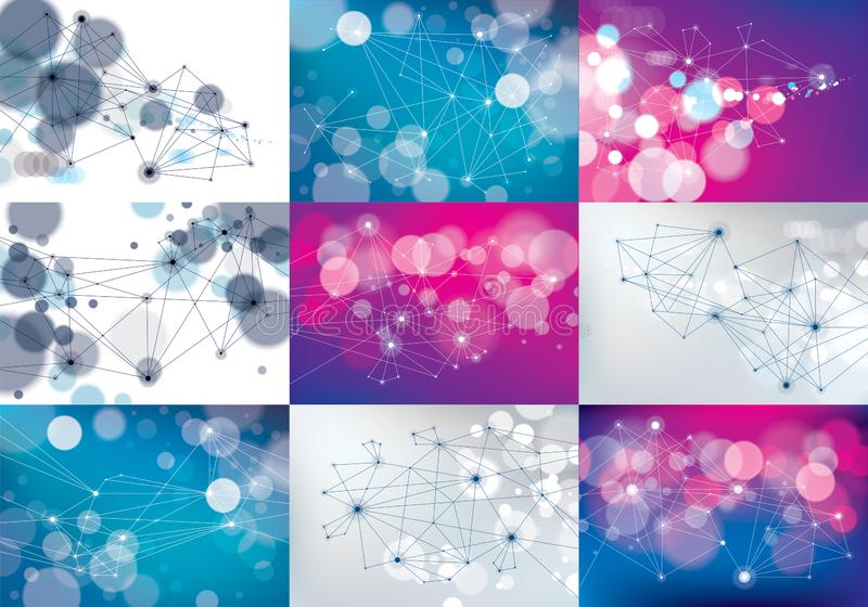 Minimalism chaotic 3d connection communication mesh technology and science backgrounds set. With blurred defocused round lights stock illustration