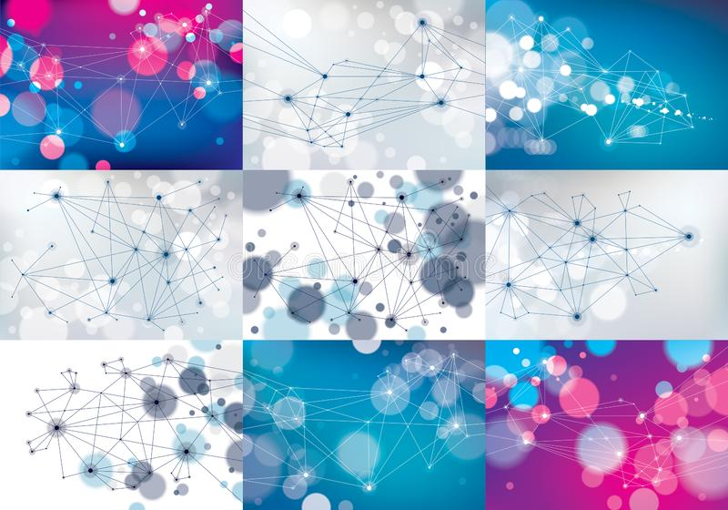 Minimalism chaotic 3d connection communication mesh technology and science backgrounds set. With blurred defocused round lights royalty free illustration