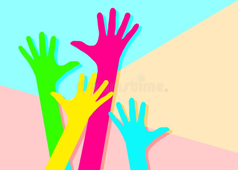 Minimalism contemporary flat lay colorful hands on pastel colored background stock illustration
