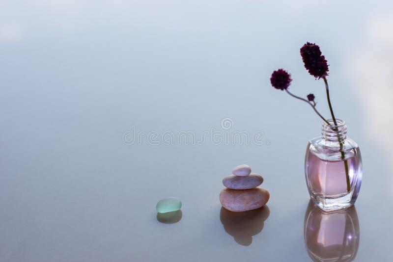 minimalism Een glas, een piramide van drie stenen en flessen met roze olie en een geplakt takje stock foto