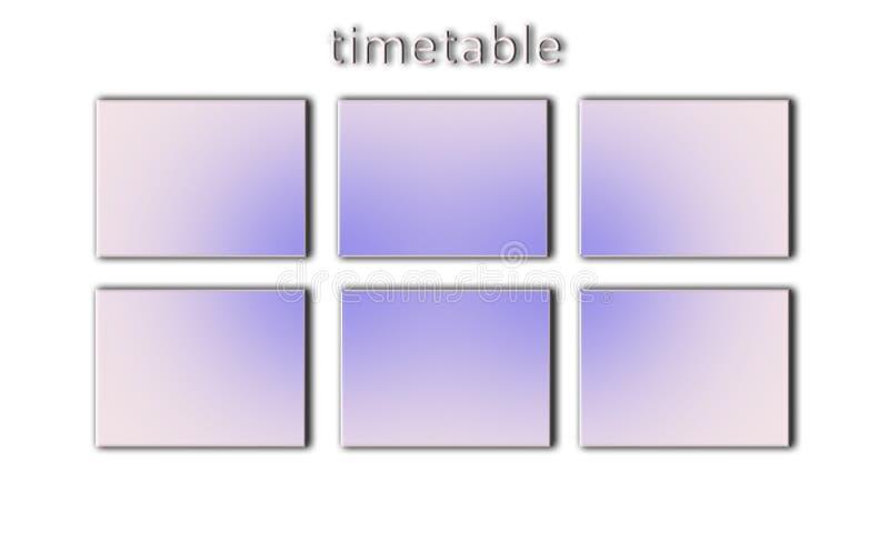 MINIMALISM. mock school timetable. time management concept. designer`s preparation. top view. flat lay,calendar. stock illustration