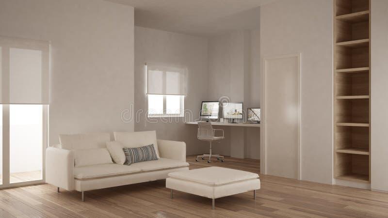 Minimalism, modern, för golv för parkett, vit och träinredesign för vardagsrum med den tomma bokhyllan, hem- för arbetsplats för  arkivbild