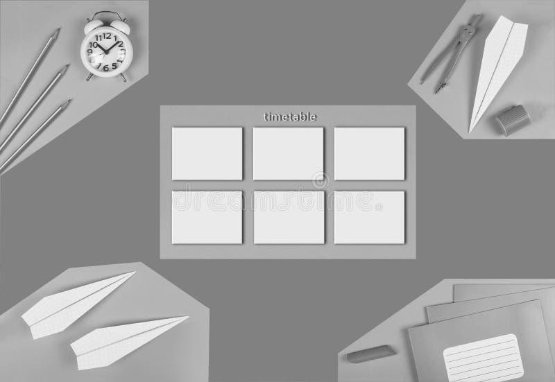 minimalism Rebecca 36 calendário trocista da escola Conceito da gestão de tempo preparação do ` s do desenhista calendário Vista  ilustração royalty free