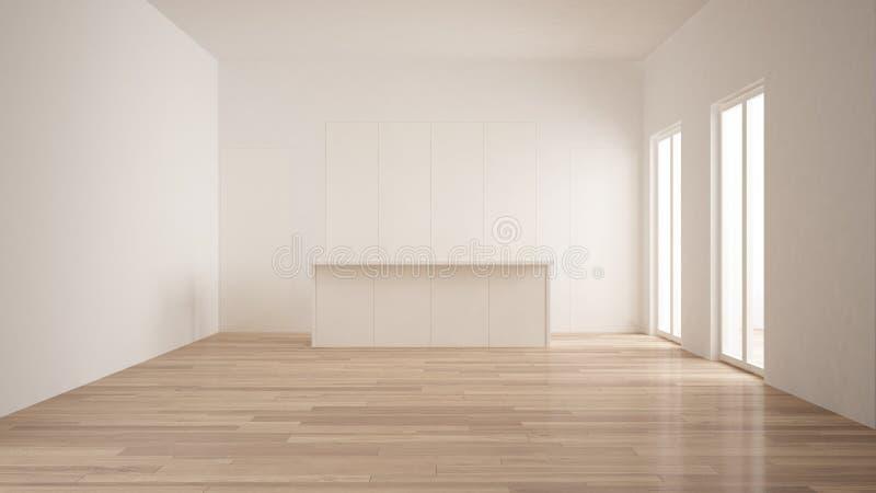 Minimalism som är modern tömmer rum med vit dolt kök med, vit och träinredesignen för ön, för golvet för parkett arkivbild