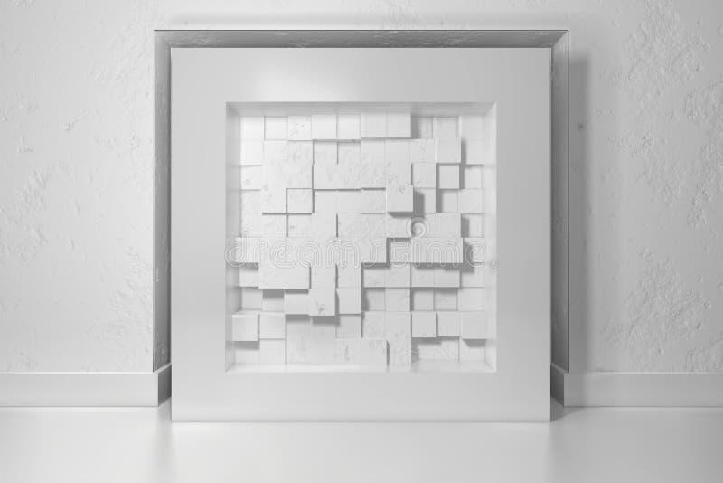 Minimalism, spot op affiche, 3d illutrationbinnenland Wit kader op een gebied in de gepleisterde die muur met chaotisch wordt gev vector illustratie