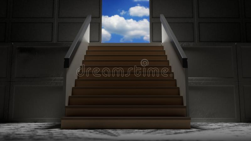 Minimalism Stairs Into The Blue Sky 3d Illustration Stock ...