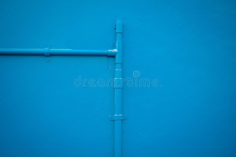 Minimalism Style, Blue Water Tube On The Wall. Stock Image - Image ...